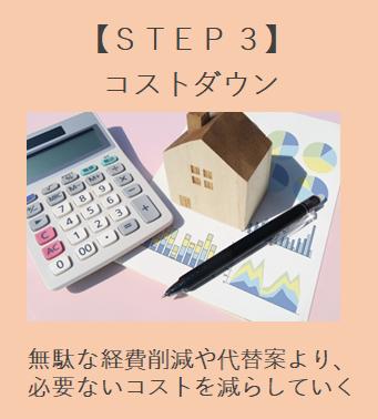 住宅会社選定 STEP3 コストダウン 無駄な経費削減や代替案より、必要ないコストを減らしていく。