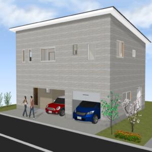 2階建てインナーガレージの家