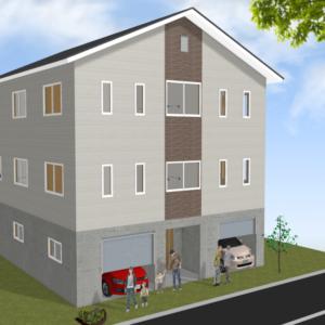 車4台が収まる二世帯高床の家